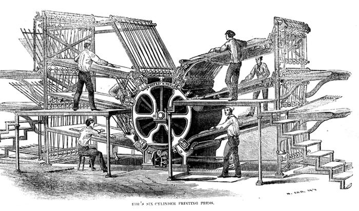 "crédit ""Richard March Hoe's printing press—six cylinder design"""